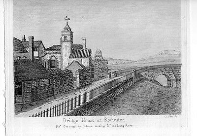 BRIDGE HOUSE ROCHESTER 1781 VERY NICE OLD ENGRAVING Antique Art Print #jF205