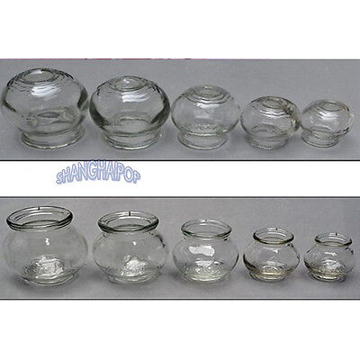 Set of 5 Glass Cupping Fire Cup Chinese Suction Body Massage Therapy Medical New