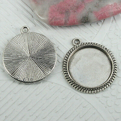 16pcs tibetan silver color round cabochon settings charms EF0959