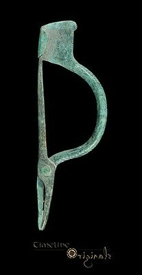 VERY RARE ANCIENT ROMAN CHEVRON BRONZE PINCER BROOCH fibula 027283