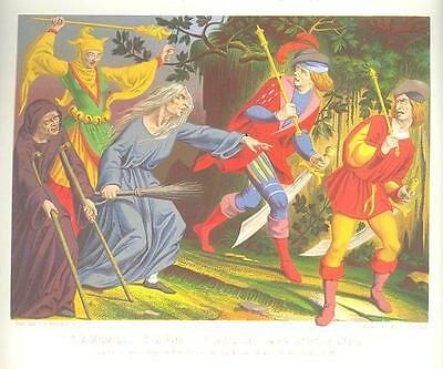 COURT JESTER WITCH SORCERY MAGIC Medieval ANTIQUE PRINT