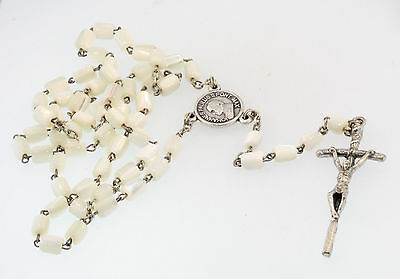 299dfd66c Johannes Paulus Regina Poloniae Mother Of Pearl Rosary Crucifix Marked  Italy **