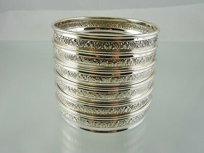 Baroque Set 6 Sterling And Crystal Drink Coasters By Birks Sterling