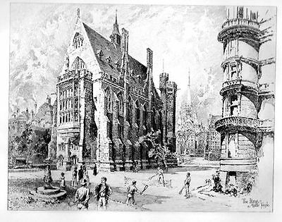 LIBRARY of MIDDLE TEMPLE CHURCH COURT by HERBERT RAILTON OLD Antique Art Print