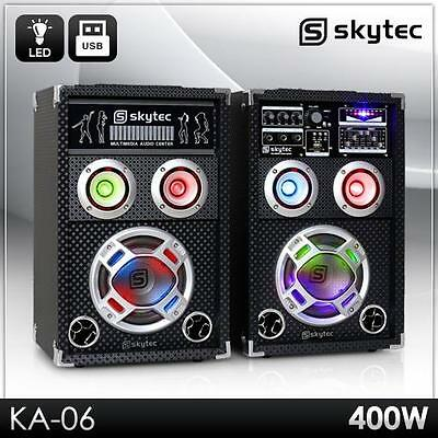 "Aktiv Party Karaoke Pa Dj Boxen Set Paar 6,5"" Subwoofer Lautsprecher Usb Sd Mp3"