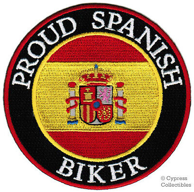PROUD SPANISH BIKER embroidered PATCH SPAIN FLAG ESPAÑA iron-on EMBLEM