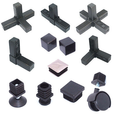 """25Mm 1"""" Metal Square Tube Speed Frame Fittings Plastic Joiners Inserts System"""