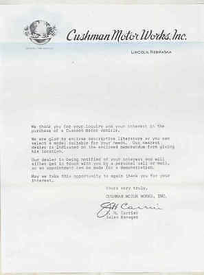 1950 ? Cushman Motorcycle Factory Letter wt8880
