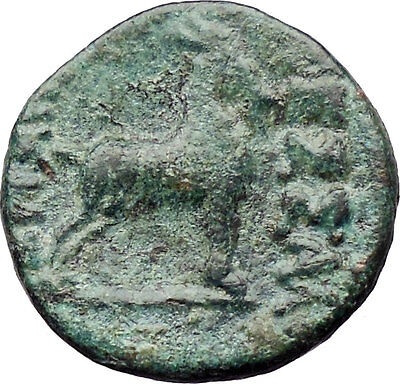 Thessalonica in Macedonia  Ancient Greek Coin  Dionysus Wine Cult  Goat  i30351