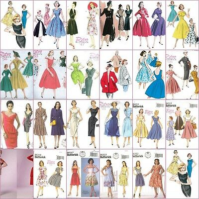 Vintage Retro 1940s 50s 60s Misses Dress Butterick Sewing Pattern Rockabilly VLV
