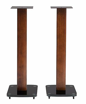 TransDeco 30 Inch Height Speaker Stands Glass/Solid Wood/Steel - NEW