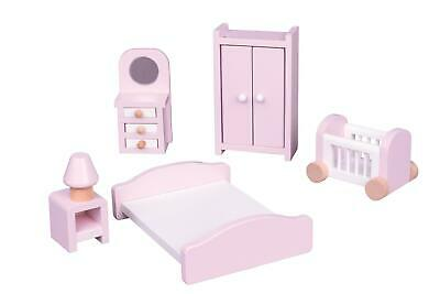 Lelin Wooden Pink Bedroom Playset Childrens Kids Pretend Doll House Furniture