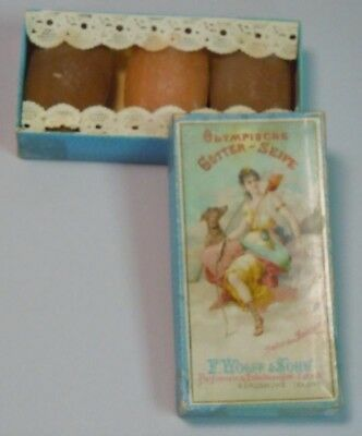 Charming Tiny 3 Soap Set w Chromolithograph Cover Olympische Gotter-Seife c1880s