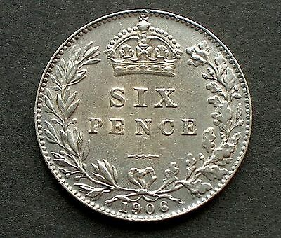British - 1906 Edward VII  Sixpence - Good Extra Fine (643)