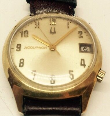 Vintage Bulova Accutron Mens 14k Gold Filled Watch Leather Band