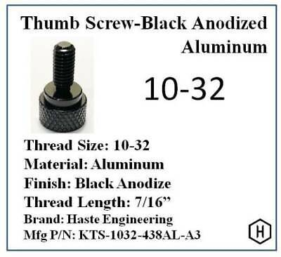 "10-32 x 7/16 "" Knurled Thumb Screw (10 Pieces) Aluminum Black Anodized Finish"