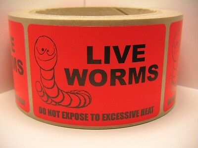 LIVE WORMS Do Not Expose to Excessive Heat Sticker Label fluor red bkgd 250/rl