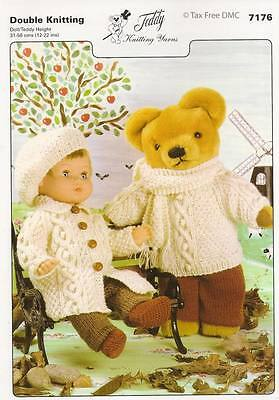 VAT Free Hand Knitting PATTERN ONLY To Make Dolls & Teddy Clothes 7176