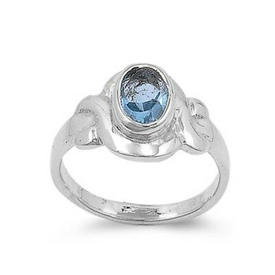 USA Seller Oval Baby Ring Sterling Silver 925 Best Price Jewelry Aquamarine CZ