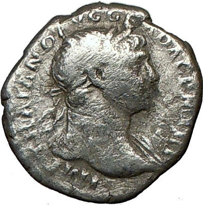 TRAJAN 108AD Ancient Silver Roman Coin EQUITY Goddess Cult  Wealth  i18625
