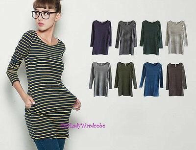 Japan Striped Pocket Fitted Knit Tunic Shirt! FREE SHIPPING!