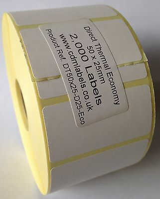 8,000 Direct Thermal Labels - 50mm x 25mm - Zebra LP2844 Label Printer