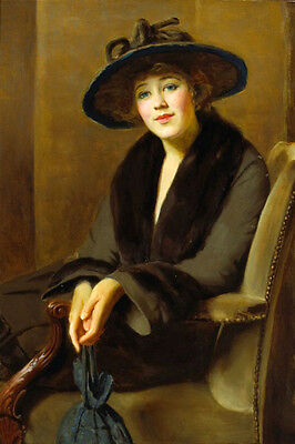 Beautiful large Oil painting female portrait young woman seated with black hat