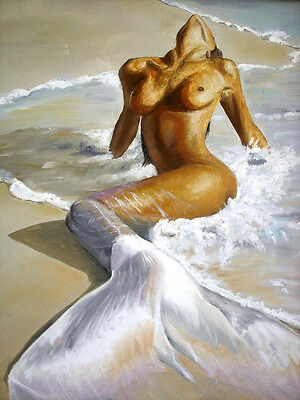 Art Oil painting Sexy young girl - The Mermaid by the ocean & waves on beach