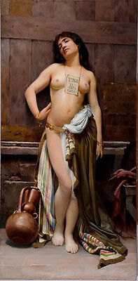 Stunning Oil painting nude young woman portrait standing with pot Beside her