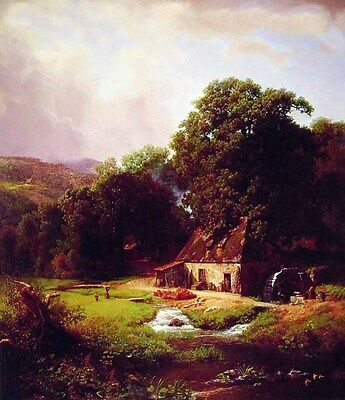 "Handpainted Oil painting The Old Mill house brook in landscape canvas 24""x36"""