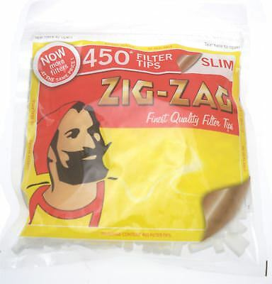 450 Zig Zag Slim Filter Tips Resealable Bag
