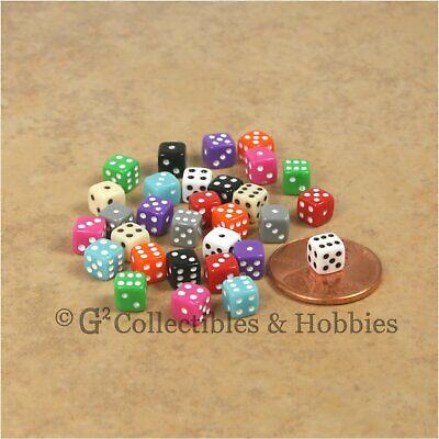 NEW 5mm Deluxe Rounded Edge Dice Set 50 Mini 3/16 inch RPG Game D6 - 10 Colors