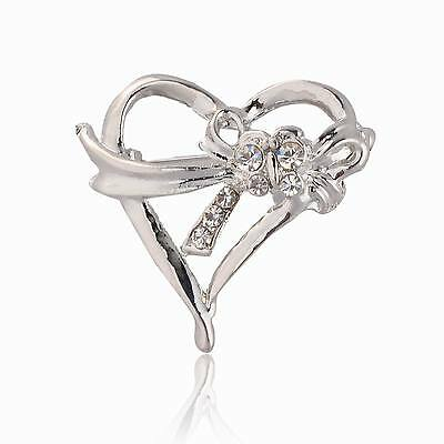 Silver Plated Crystal Love Heart Wedding Party Breastpin New Pin Brooch TS856K07