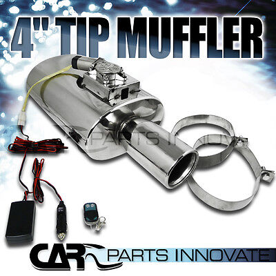 """4"""" Tip S/S High Performance Exhaust Muffler+Electro Adjust Silencer & Remote"""