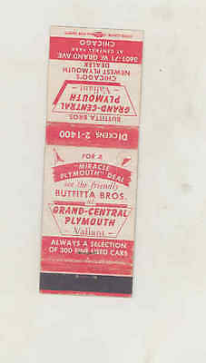 1940's Grand Central Plymouth Valiant Automobile Matchbook Cover Chicago mb2776