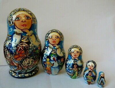 Russian Doll Hand Painted Wooden Babushka Matryoshka Set Of 5 Classic Original
