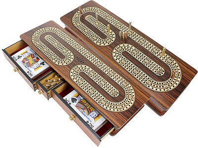 Continuous Cribbage Board Rosewood : Alphabet C Shape Inlaid Maple 3 Tracks