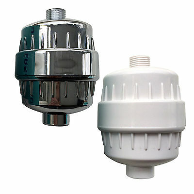In Line Shower Filter in Chrome or White for Chlorine and Heavy Metal Removal
