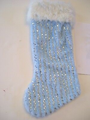 FAUX FUR BLUE & WHITE CUFF SILVER SEQUINS CHRISTMAS STOCKING MANTLE DECORATION