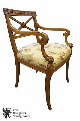 Antique Greek Revival Captains Chair Aesthetic Upholstered 1900s Arm Cross Back