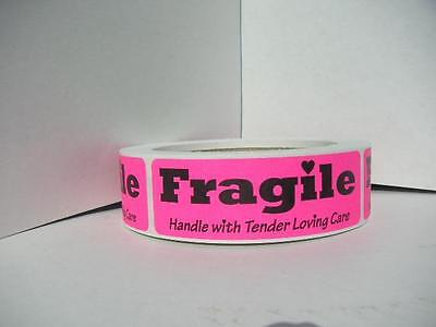 FRAGILE HANDLE with TENDER LOVING CARE Stickers Labels pink fluores 250/roll