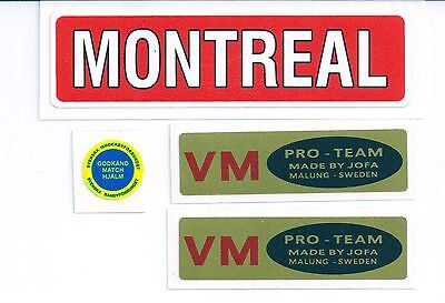 Replicated Vintage Jofa VM Helmet 225 & 235 51 Stickers Early 70's Tretiak Style