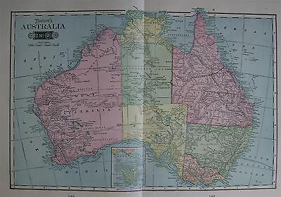 1904 Australia Large 2-page Color Atlas Map .... 100 years-old!