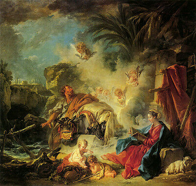 Oil painting francois boucher - In the rest of the way to Egypt Mary & children