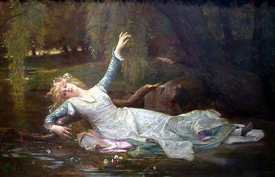 Huge Oil painting beautiful younggirl fairy fallen Ophelia on the river canvas