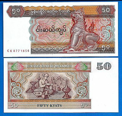 Myanmar P-73 Fifty Kyat Year ND 1997 Uncirculated FREE SHIPPING