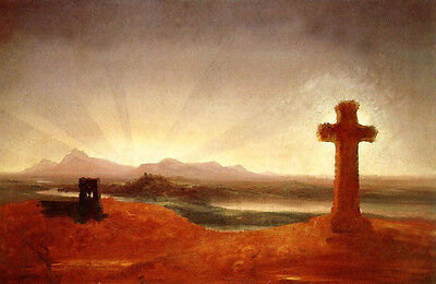 No framed Oil painting Thomas cole - Cross at Sunset landscape with river canvas