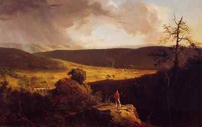 Oil painting Thomas cole - View of LEsperance on the Schoharie River & youth