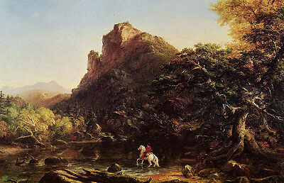 Art oil painting Thomas cole - The Mountain Ford horseman & white horse in view