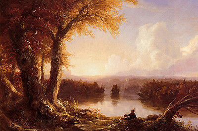 Art Oil painting Thomas cole - Tribal people at sunset landscape by the river